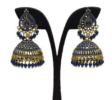 Gold Plated Blue and Golden Indian Earring For Women