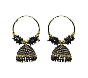 Gold Plated Black and Golden Indian Earring For Women