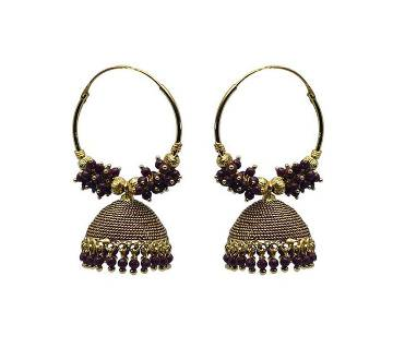 Gold Plated Maroon and Golden Indian Earring For Women