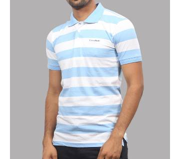 Sky Blue and White Stripe Cotton Polo for Men