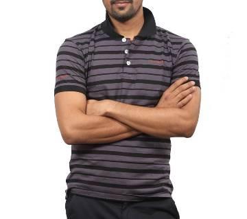 Black and Lavender Stripe Cotton Polo for Men