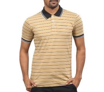 Multi-Color Striped Cotton Polo Shirt for Men