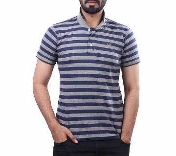 Mens half sleeve striped polo shirt