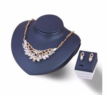 Crystal Flower Necklace Set with Earrings