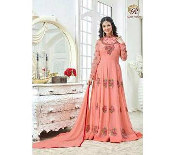 Unstitched replica georgette embroidery long three pc