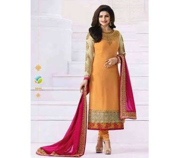 Unstitched replica georgette embroidery three pc