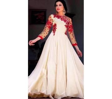 Semi stitched Soft Georgette Embroidery Three piece