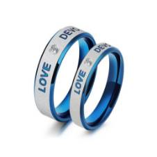 Blue and Silver Love Devotion Couple Finger Ring