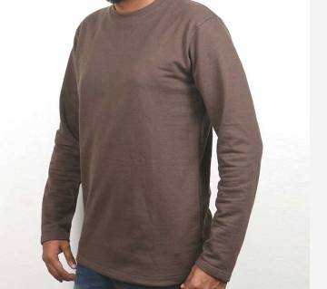 Chocolate colour Gents full sleeve cotton t-shirt