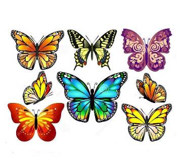 Butterfly Wall Sticker Plastic Made-12 Pcs