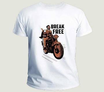 Break Free Motor Bike Style Smile Menz Half Sleeve T-Shirt