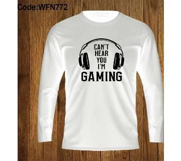 Gaming  মেনজ ফুল-স্লিভ টি-শার্ট - সাদা