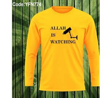 Allah Is Waching মেনজ ফুল-স্লিভ টি-শার্ট ইয়োলো