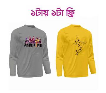 Freefire Ash Freefire man মেনজ ফুল-স্লিভ টি-শার্ট-Ash (Badminton ইয়োলো মেনজ ফুল-স্লিভ টি-শার্ট ফ্রি)