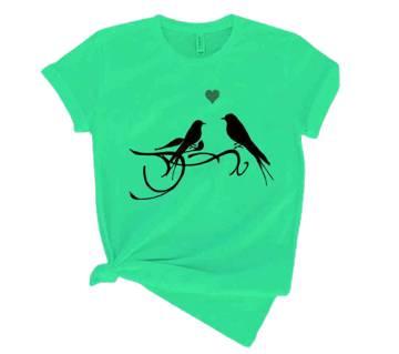 Bird মেনজ হাফ স্লিভ টি-শার্ট-Green
