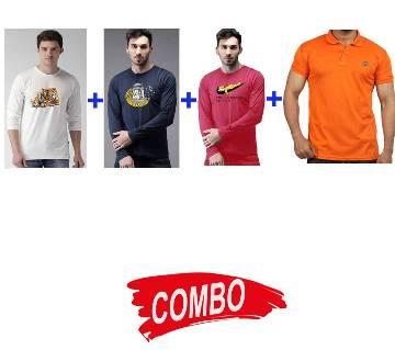 3pcs Gents Full Sleeve Cotton T-Shirt+ 1pc Gents Full Sleeve Cotton T-Shirt Combo