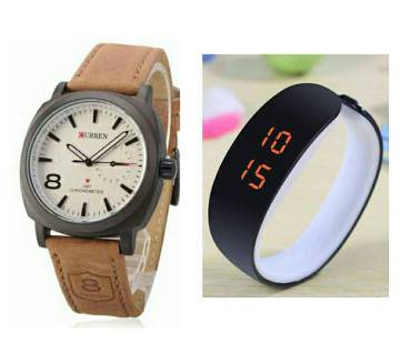 Curren Gents Watch & Fastrack LED Watch Combo