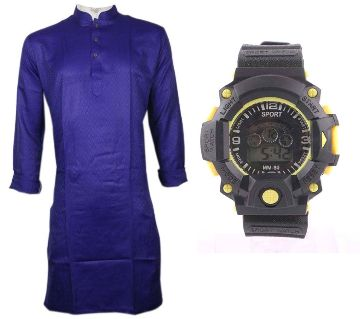 Dark Blue Semi Long Punjabi + Kids Digital Watch