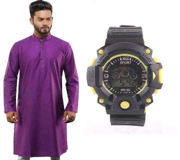 Purple Semi Long Punjabi + Kids Digital Watch