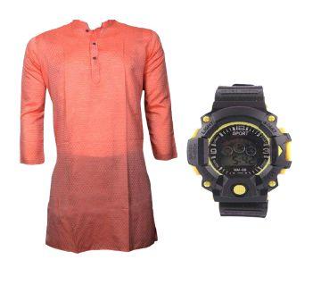 Cream Semi Long Punjabi + Kids Digital Watch