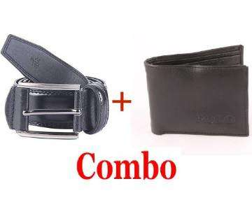 Menz Mixed Leather Belt + Leather Wallet for Men Combo Offer