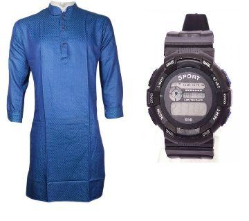 Blue Semi Long Punjabi + Kids Digital Watch