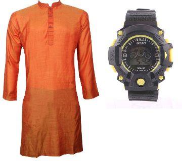 Orange Semi Long Punjabi + Kids Digital Watch
