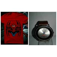 Spiderman Menz T-shirts and TITAN copy Gents watch combo