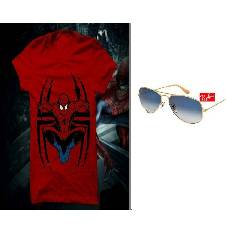 Spiderman Menz T-shirt and Ray ban Copy Sunglasses Combo