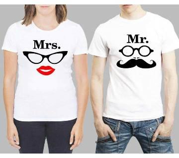 Half Sleeve Cotton Couple T Shirt For Valentine