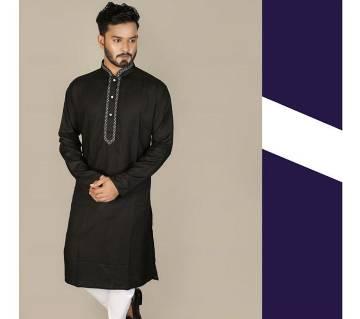 Indian semi long Cotton Punjabi for men -black