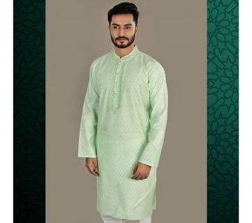 Indian semi long Cotton Punjabi for men -light green