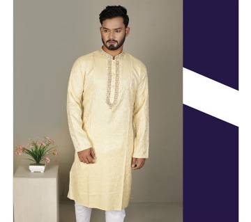 Indian semi long Cotton Punjabi for men -yellow