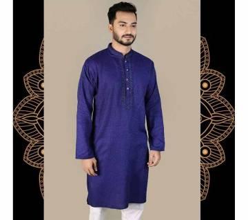 Indian semi long Cotton Punjabi for men -blue