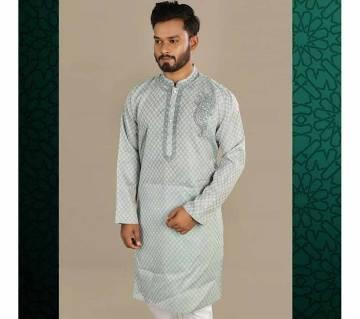 Indian semi long Cotton Punjabi for men - sky