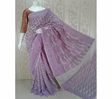 Purple mirpur jamdani silk sharee