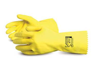 Yellow Flock-Lined Latex Chemical-Resistant Glove
