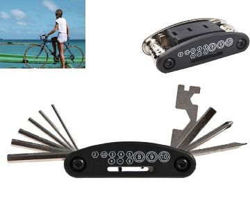 16 in 1 পকেট বাইক রিপেয়ার টুল সেট Bicycle Multi-functional Tool Kit