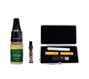 KiwiCig Black Case and Menthol Liquid Package