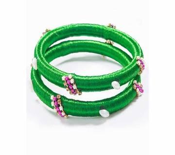 Green color silk thread bangles