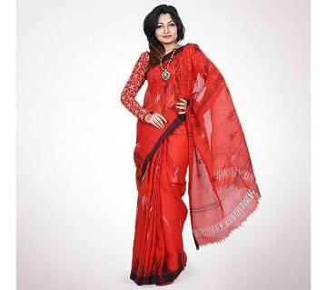 Red Indian Monipuri Taant Saree