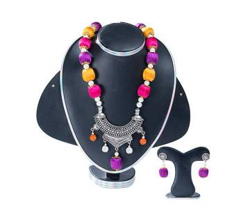 Multi Colour Silk Thread Jewellery Set