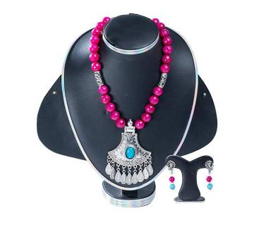 Megenta Color Marble Stone Setting Jewellery Set