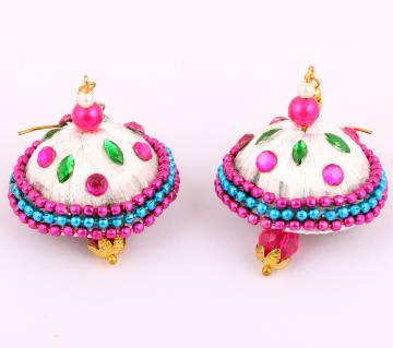 Silk yarn earrings-1 pair
