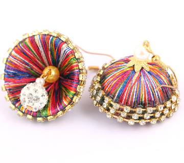 Multi color silk thread bangles-1 pair