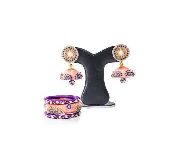 Pink Color Silk Thread Earring & Bangles