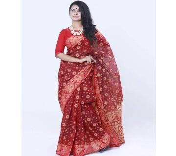 Red Colour Full Cotton Shahdadpur Jamdani Saree For Women