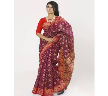 Light Megenta Full Cotton Shahdadpur Jamdani Saree For Women