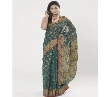 Drak Green Full Cotton Shahdadpur Jamdani Saree For Women