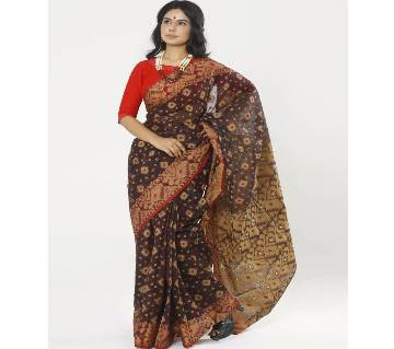 Deep Chocolate Color Full Cotton Shahdadpur Jamdani Saree For Women